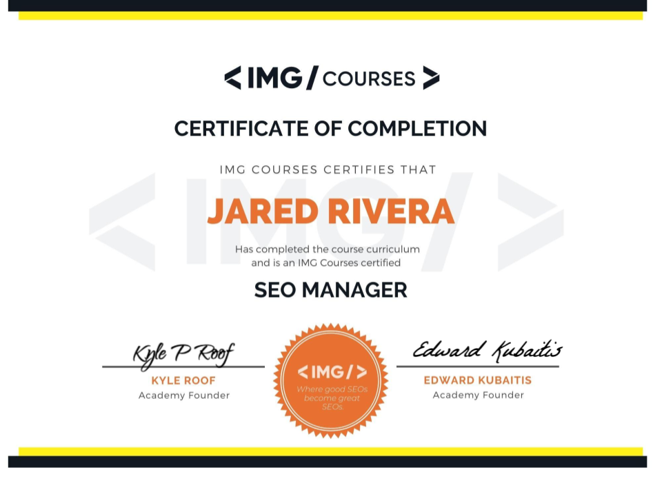 IMG SEO certificate of completion